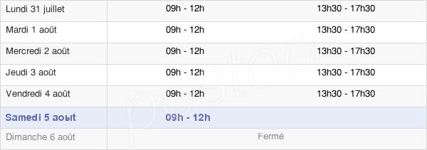 horaires d'ouverture de la Mairie De Saignes