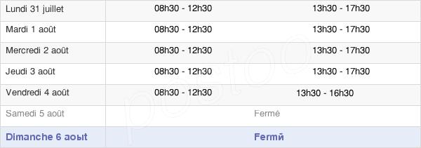 horaires d'ouverture de la Mairie De Saint-Jean-D'Angély