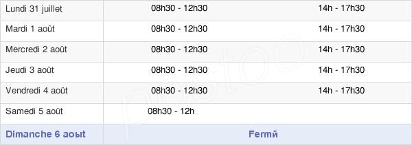 horaires d'ouverture de la Mairie De Pons