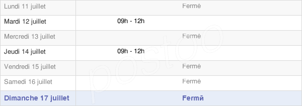 horaires d'ouverture de la Mairie De Peyrusse