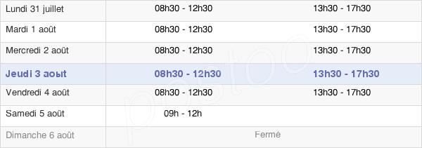 horaires d'ouverture de la Mairie De Saint-Sébastien-De-Morsent