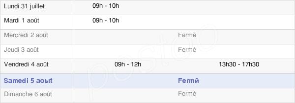 horaires d'ouverture de la Mairie De Sainte-Anastasie