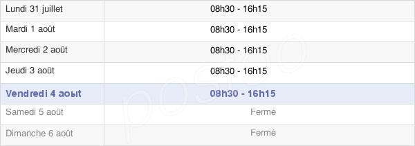 horaires d'ouverture de la Mairie De Chabeuil