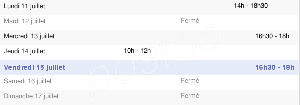 horaires d'ouverture de la Mairie De Saint-Germain-Village