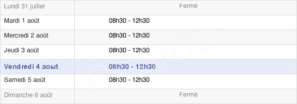 horaires d'ouverture de la Mairie De Yolet