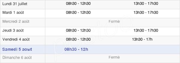 horaires d'ouverture de la Mairie De Saint-Étienne-De-Maurs