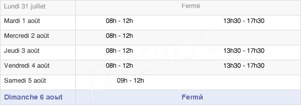 horaires d'ouverture de la Mairie De Reilhac