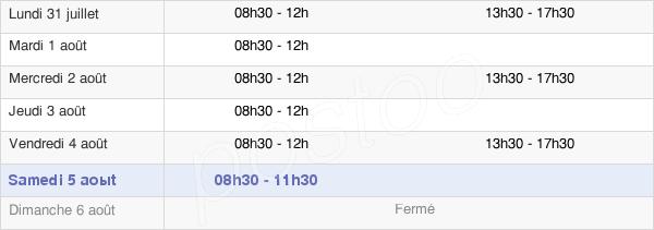 horaires d'ouverture de la Mairie De Dizy