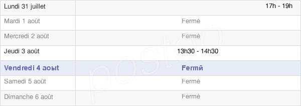 horaires d'ouverture de la Mairie De Nuisement-Sur-Coole