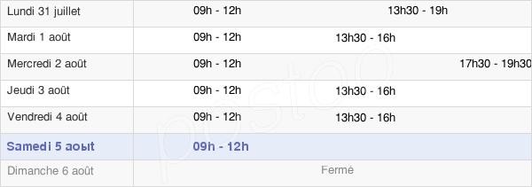 horaires d'ouverture de la Mairie De Saint-Georges