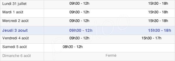 horaires d'ouverture de la Mairie De Magenta