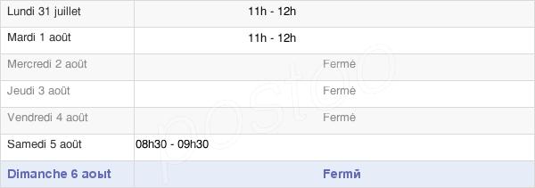 horaires d'ouverture de la Mairie De Vouillers