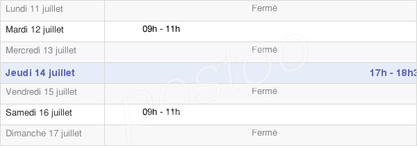 horaires d'ouverture de la Mairie De Baye