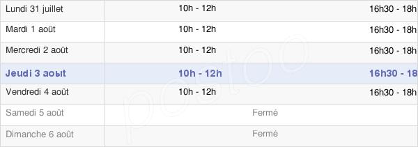 horaires d'ouverture de la Mairie De Chouilly