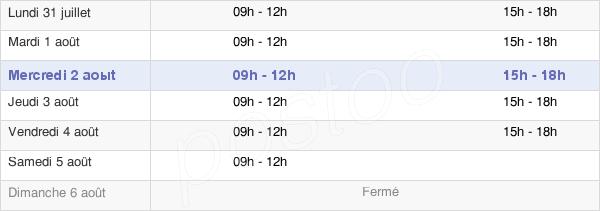 horaires d'ouverture de la Mairie D'Esternay