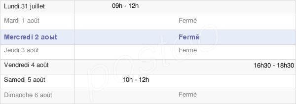 horaires d'ouverture de la Mairie De Dampierre-Sur-Moivre