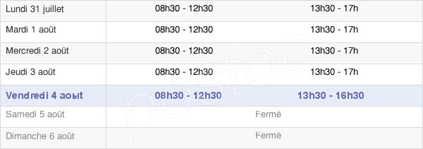 horaires d'ouverture de la Mairie De Foulayronnes