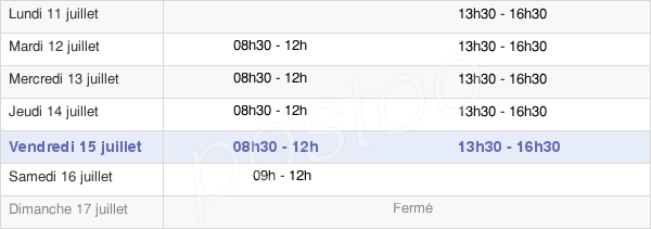 horaires d'ouverture de la Mairie De Polminhac
