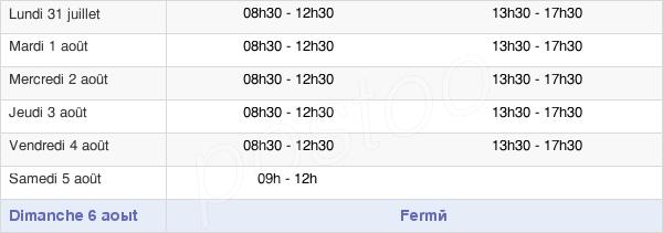 horaires d'ouverture de la Mairie De Sainte-Livrade-Sur-Lot