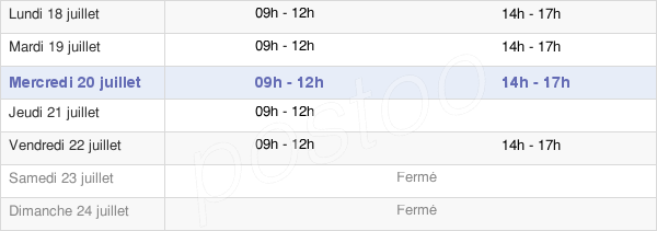 horaires d'ouverture de la Mairie De Clairac