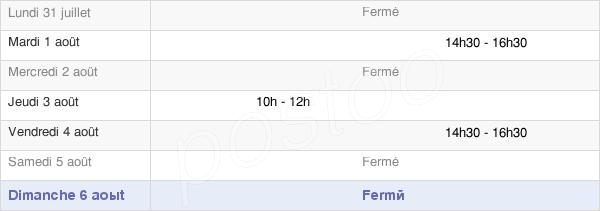 horaires d'ouverture de la Mairie De Clavières