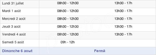horaires d'ouverture de la Mairie De Villeneuve-Sur-Lot