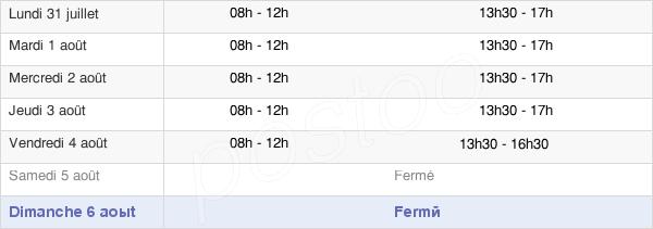 horaires d'ouverture de la Mairie De Casseneuil
