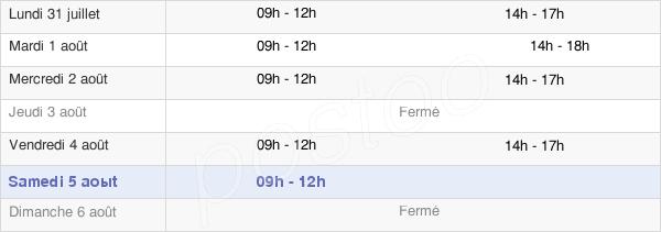 horaires d'ouverture de la Mairie D'Astaffort