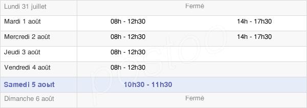 horaires d'ouverture de la Mairie De La Croix-Blanche
