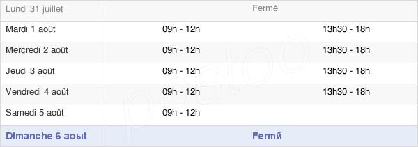 horaires d'ouverture de la Mairie De Tréon