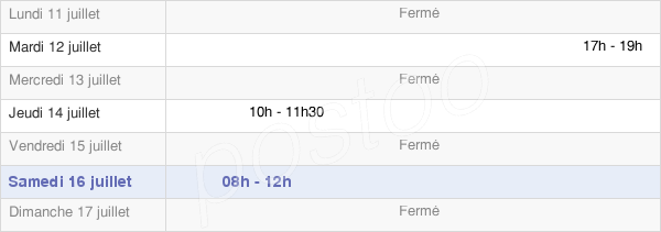 horaires d'ouverture de la Mairie De Conie-Molitard