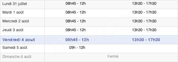 horaires d'ouverture de la Mairie De Maintenon