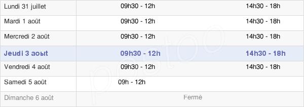 horaires d'ouverture de la Mairie De Roquettes
