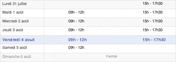 horaires d'ouverture de la Mairie De Saint-Rémy-Sur-Avre