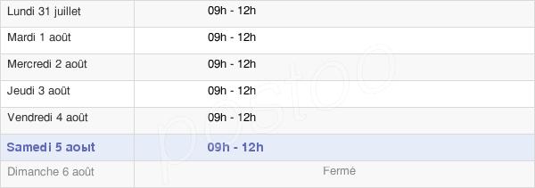 horaires d'ouverture de la Mairie De Dammarie