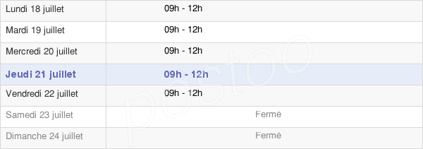 horaires d'ouverture de la Mairie De Peille