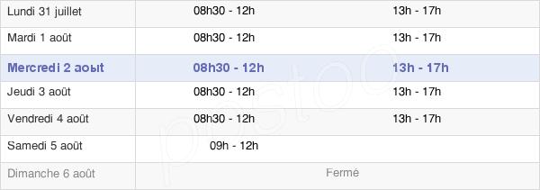 horaires d'ouverture de la Mairie De Saint-André-De-La-Roche