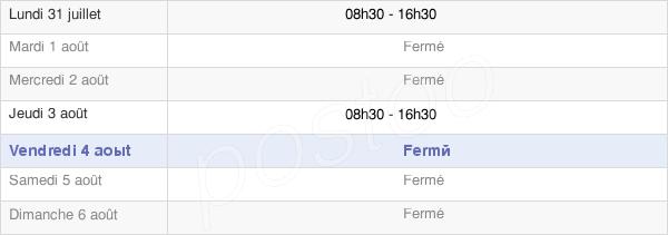 horaires d'ouverture de la Mairie De Tourette Du Chateau