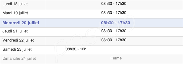 horaires d'ouverture de la Mairie De Cannes
