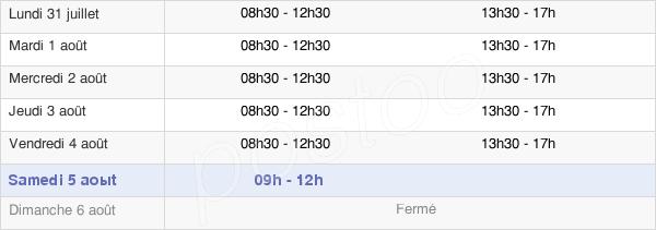 horaires d'ouverture de la Mairie De Mouans-Sartoux