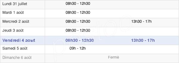 horaires d'ouverture de la Mairie Du Pallet