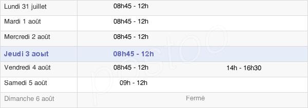 horaires d'ouverture de la Mairie De Teillé