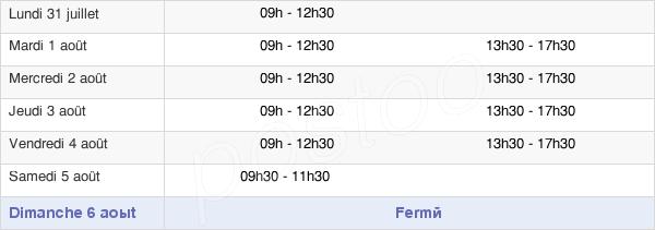 horaires d'ouverture de la Mairie De Vallet