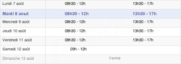 horaires d'ouverture de la Mairie De Savenay