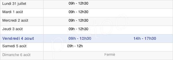 horaires d'ouverture de la Mairie De Monnières
